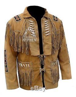 Marron Mens Suede Western Cowboy Style Veste En Cuir Avec Une Frange Bones Et Perles