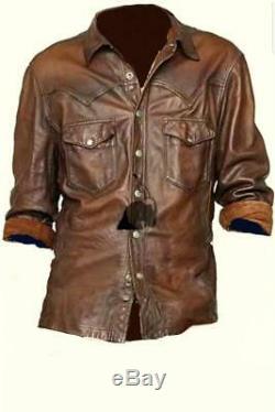 Masculine Design Tendance Stretchy Mens Brown Waxy Cuir Véritable Western Shirt