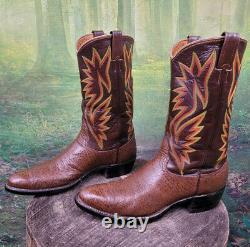 Men's Cowboy Western Boots Exotic Handmade Nocona 1970s Shark Skin 12 D