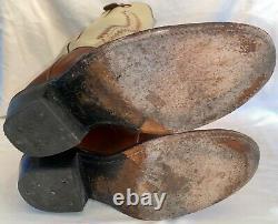 Mens 13 D Olathe 6906 Cowboy Western 19 Tall Top Buckaroo USA Brown Bone Boots