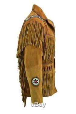 Mens Brown Western Classique Suede Veste En Cuir Avec Des Perles Franges Indiens
