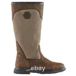 Mens Country Work Leather Waterproof Walking Outdoor Zip Chaussures De Chasse Bottes Sz