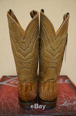 Mens Lucchese M4541. Twf Tan Hornback Crocodile Retour Cut Cowboy Western Boot
