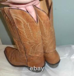 Mens Lucchese N1547 Mad Dog Goat Brown Leather Cowboy Western Boots Taille 9 D