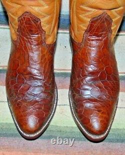 Mens Vintage Nocona Brown Alligator / Bottes De Cowboy En Cuir 10 D Excellent Cond