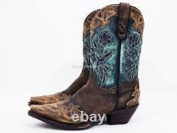 Menthe $300 Sz 10 Dan Post Dp3544 Vintage Bluebird Chocolate Western Cowboy Boot