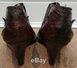 Miu Miu Brun Marron En Cuir Noir Bout Pointu Western Cowboy Shoe Bottes Uk6