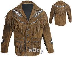 Motokit Hommes Western Indian Cowboy Veste En Cuir Super Qualité Suede Toutes Les Tailles