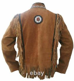 Native American Western Porter Suede Veste En Cuir Fringes & Perled Coat