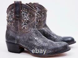 New 598 $ Sz 9 Frye 77861 Deborah Clouté Gris Occidental Cowboy Cheville Bottillons Boot