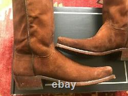 New Mens Lucchese Canyon Brown Suede Western Boot, Made In Usa, Taille 11d