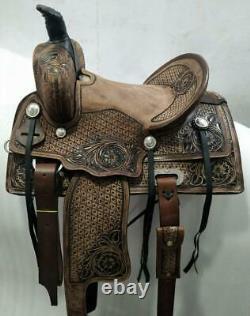 New Western Saddle Set Taille Brune Taille 13 Cuir Gaufré Fabriqué À La Main
