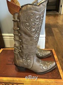 Nib Femmes Corral Magdalena Snip Toe Western Cowboy Bottes Inlay A3043 Brown 9.5