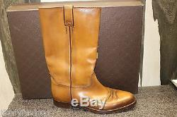 Nib Gucci Classic Cowboy Betis Glamour Ombre Tan Pull Up Flat 40 Chaussures Bottes