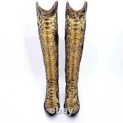 Nouveau $2400 Sz 8.5 Vieux Gringo L512-3 Elisa Python Au-dessus Du Knee Otk Snakeskin Boot