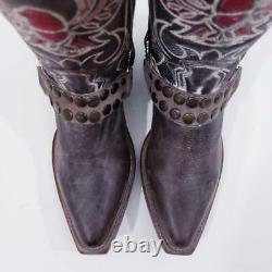 Nouveau $295 Sz 7 Fits 6.5 Freebird By Steven Ranch Studded Harness Eagle Boots