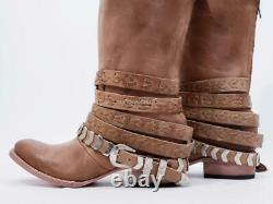 Nouveau $295 Sz 8 Fits 7.5 Freebird Par Steven Dante Camel Tan Belted Western Boot