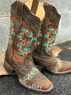 Nouveau Avec Tags Corral En Cuir Turquoise Fleur Brodée Bottes De Cowboy Femmes Sz 6