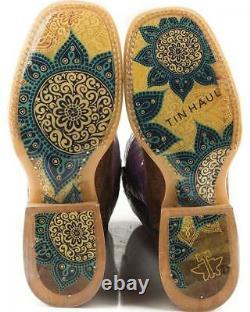 Nouveau Dans La Boîte Femmes Tin Haul Paisley Rain Boots With Flowerful Sole Handmade Sz 7