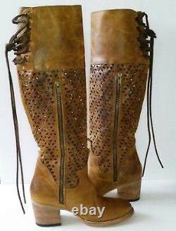 Nouveau Freebird Creek Femmes 6 Cognac Cuir Tall Boots Cutouts Boho