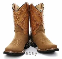 Nouveau Grinders El Paso Tan Brown Real Cowboy En Cuir Boot Slip Sur Les Bottes De Veau Moyen