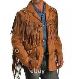 Nouveau Hommes Traditionnel En Cuir Suédé Veste Manteau Western Avec Des Franges Et Perles