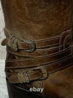 Oiseau Libre Par Steven Pikes Marron Cuir Naturel Western Cowboy Bottes Taille 9 Nib