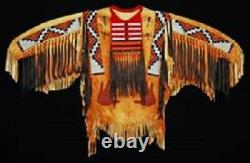 Old Style Sioux Perlé Fringe Tan Buffalo Suede Leather Powwow War Shirt Sx178