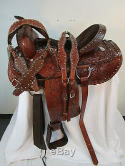 Plaisir Trail Selle Western Cheval Floral Tooled Occasion Cuir Tack Set 15 16