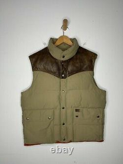 Polo Ralph Lauren Large Vest Jacket Rrl Leather Hunting Rlx Rodeo Western Brown