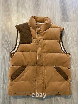Polo Ralph Lauren Mens XL Corduroy Vest Jacket Rrl Leather Hunting Western Brown