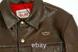 Prc £835 Lewis Cuirs Outlet Hommes Jacket 988 Ovins Brun Foncé De L'ouest 40