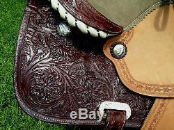 Première Qualité Brown Leather Selle Western Avec Bricole & Têtière