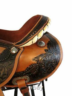 Pro Western Barrel Racing Show Trail Pleasure Leather Horse Saddle Tack 15 16