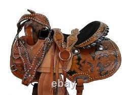 Pro Western Barrel Saddle 15 16 17 Racing Horse Pleasure Tooled Tack Set En Cuir