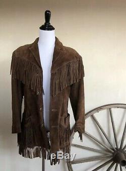 Ralph Lauren 80 Vtg Sud-ouest Frangée Suede Veste Cowboy En Cuir 8 USA Rare