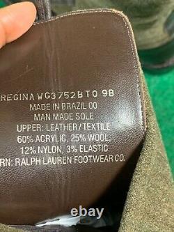 Ralph Lauren Femmes Taille 9.5 Regina L'équitation Bottes Brown Laine En Cuir