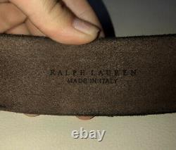 Ralph Lauren Leather Belt Western Rrl Polo Rodeo Buckle Ranch Long Horn Bull Vtg
