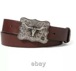 Ralph Lauren Purple Label Full Grain Calf Leather Western Longhorn Belt Brown