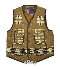 Ralph Lauren Purple Label Women Western Indian Gilet En Cuir M $ New 3998