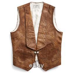 Ralph Lauren Rrl Limited Edition De 50 Cuir Western Bolton Vest Nouveau $ 1900