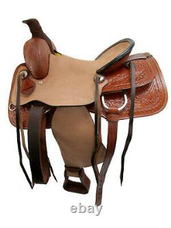 Ranch Roping Western Saddle Tooled Horse Pleasure Rough Out Cuir 15 16 17