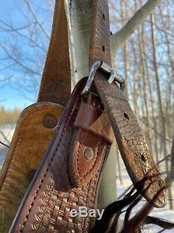Rare Brun Foncé Angora Wooly Chaps Tooled Ceinture En Cuir Western Cowboy Vintage