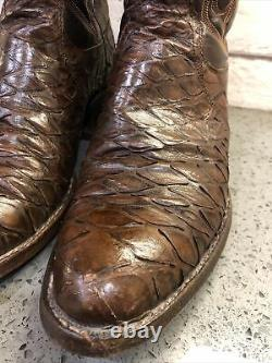 Rare Vintage 80's Dan Post Brown Anteater Western Cowboy Boots Taille Homme 9d USA