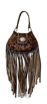 Raviani New Western Hobo Sac Longues Franges En Cuir Withbrn Gaufrée Made In USA