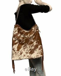 Raviani Western Hobo Design En Cuir Chatoiement Cacher Withfringe & Goujons Argent