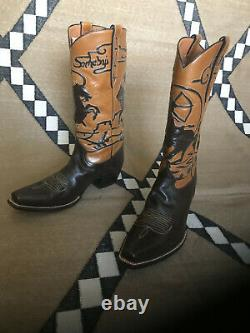 Rocketbuster, Custom Made, Foncé Et Brun Clair Cowboy Boots, Taille Us 10, Ue 43