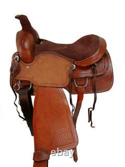 Rodeo Western Ranch Saddle Roping Horse Pleasure Tooled Tack En Cuir 15 16 17