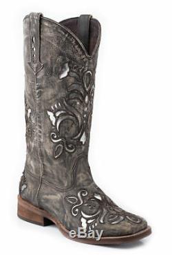 Roper Femmes Cowboy Bottes Place Brown Toe Sablée Cuir Western Underlay, Sz 8