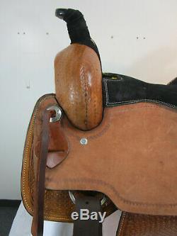 Roping Saddle Ranch D'occasion Plaisir Tooled Cuir Occidental Cheval Tack Set 16 17